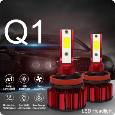 2pcs H8 H9 H11 Q1 12000LM 6000K 120W COB LED Car Headlight Kit Hi or Lo Light Bulb
