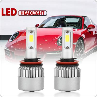 2pcs H11 / H9 / H8 S2 72W 8000LM 6000K White LED Headlight Hi or Lo Beam Head Lamp for Cars