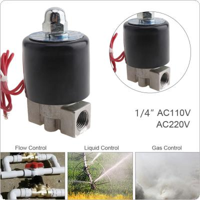 1/4'' AC 110 / 220V Normally Closed Type Stainless Steel Electric Solenoid Valve with Two Position and 1/4'' Pipe Interface for Water / Oil / Gas