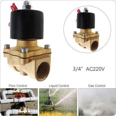 3/4'' AC 220V Normally Closed Type Aluminum Alloy Electric Solenoid Valve with Two Position and 3/4'' Pipe Interface for Water / Oil / Gas