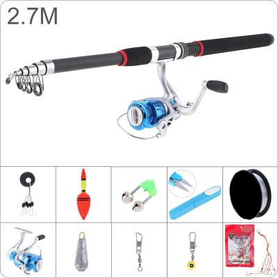 2.7m Fishing Rod Reel Line Combo Full Kits 5000 Series Spinning Reel Pole Set with Scissors Fishing Float Hooks Beads Bell Lead weight Etc