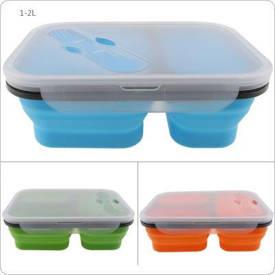 1350ML Thickening Style Three Lattice Rectangle Silicone Scalable Folding Lunchbox Bento Box with Spoon Fork Dual Purpose Tableware for - 40 ~ 230 Degree