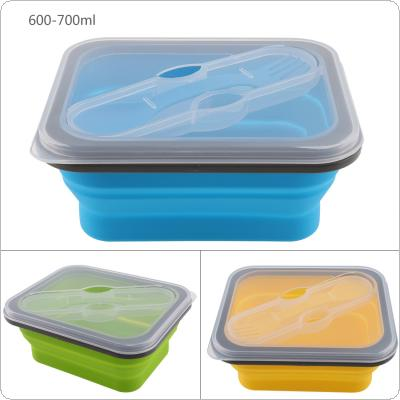 3 Colors 700ML Portable Rectangle Silicone Scalable Folding Lunchbox Bento Box with Spoon Fork Dual Purpose Tableware for - 40 Degrees ~ 230 Degrees