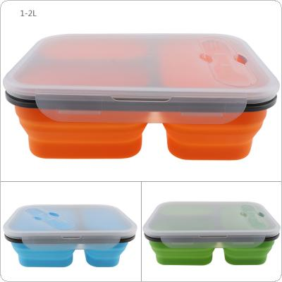1350ML Lightness Style Three Lattice Rectangle Silicone Scalable Folding Lunchbox Bento Box with Spoon Fork Dual Purpose Tableware for - 40 ~ 230 Degree