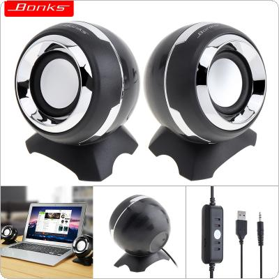Bonks DX15 Portable USB2.0 Subwoofer Small Speaker with 3.5mm Audio Plug and USB Power Plug for Desktop PC / Laptop / MP3 / Phone