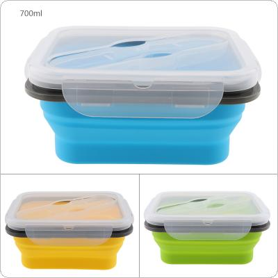 700ML Portable Rectangle Silicone Scalable Folding Lunchbox Bento Box with Thickening Card Buckle and Spoon Fork Dual Purpose Tableware for - 40 ~ 230 Degrees