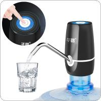 Portable Mini Push Button Wireless Rechargeable Electric Dispenser Water Pump with USB Cable / Blue Light / 304 Stainless Steel Tube for 4.5L - 18.9L Barrelled