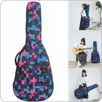 40 / 41 Inch Tartan Printed Folk Acoustic Guitar Case Gig Bag Double Straps Canvas Pad 10mm Cotton Thickening Soft Cover Waterproof Backpack