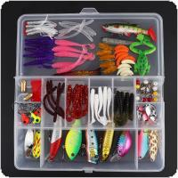 120pcs/lot Almighty Fishing Lures Kit with Mixed Hard Lures and Soft Baits Minnow Crank Popper VIB Metal Spoon Lures Accessories Set with Box