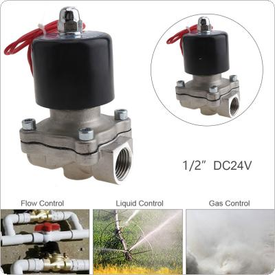 "1/2"" DC 24V Normally Closed Type Stainless Steel Electric Solenoid Valve with Two Position and 1/2"" Pipe Interface for Water / Oil / Gas"