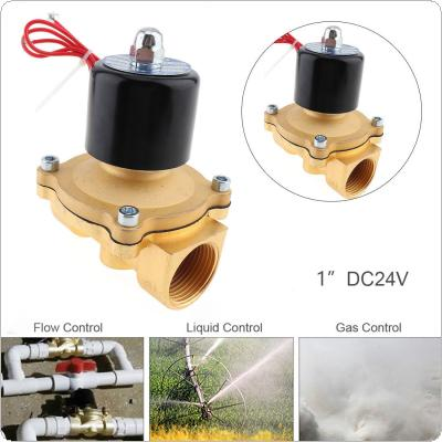 1'' DC 24V Normally Closed Type Aluminum Alloy Electric Solenoid Valve with Two Position and 1'' Pipe Interface for Water / Oil / Gas