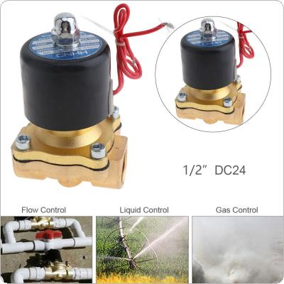1/2'' DC 24V Brass Electric Solenoid Valve with Two-way Two Position and 1/2'' Pipe Interface for Water / Oil / Gas