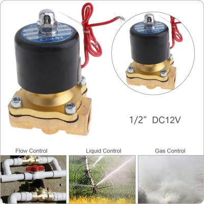 1/2'' DC 12V Brass Electric Solenoid Valve with Two-way Two Position and 1/2'' Pipe Interface for Water / Oil / Gas