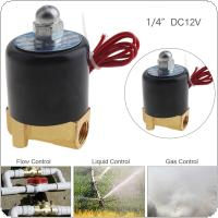 1/4'' DC 12V Normally Closed Type Aluminum Alloy Electric Solenoid Valve with Two Position and 1/4'' Pipe Interface for Water / Oil / Gas