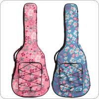 40 / 41 Inch Flower Printed Folk Acoustic Guitar Case Gig Bag Double Straps Canvas Pad 10mm Cotton Thickening Soft Cover Waterproof Backpack