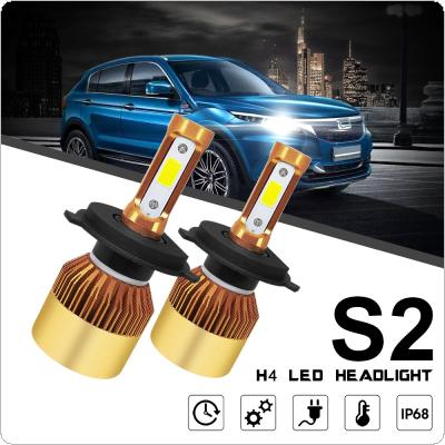 2pcs H4 / HB2 / 9003 S2 72W 8000LM 6000K White LED Headlight High / Low Beam Head Lamp for Cars