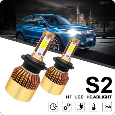 2pcs H7 S2 72W 8000LM 6000K White LED Headlight Hi or Lo Beam Head Lamp for Cars
