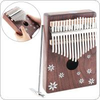 17 Key Kalimba Acacia Wood Thumb Piano with Shell Inlay Seven-leaf Flower Mbira Natural Mini Keyboard Instrument