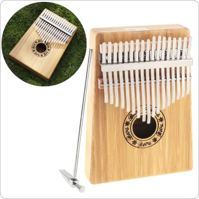 17 Key Kalimba Single Board Bamboo Thumb Piano Mbira Natural Mini Keyboard Instrument with Complete Accessories
