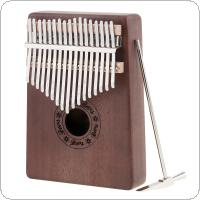 17 Key Kalimba Single Board Mahogany Thumb Piano Mbira Mini Keyboard Instrument with Complete Accessories
