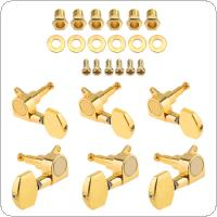 6pcs Gold Plated Guitar Tuning Pegs 3R+3L All Closed Machine Square Heads Tuners for 40 / 41 Inch Acoustic Folk Guitar