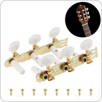 1pair Gold Plated Classical Folk Guitar Tuning Pegs with Simulation Pearl Semicircle Buttons Machine Heads