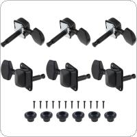 6pcs Black Guitar Tuning Pegs 3R+3L Semi-closed Machine Heads Tuners for Acoustic Folk Guitar