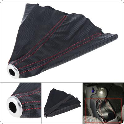 Universal Carbon Fiber Leather + Red Line Car Manual Gear Stick Shift Collars Lever Knob Gaiter Dust Cover