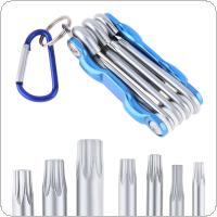 7pcs/set Multifunctional Combination Chrome Vanadium Steel Folding Hex Wrench with Plum Head and Key Ring for Maintenance