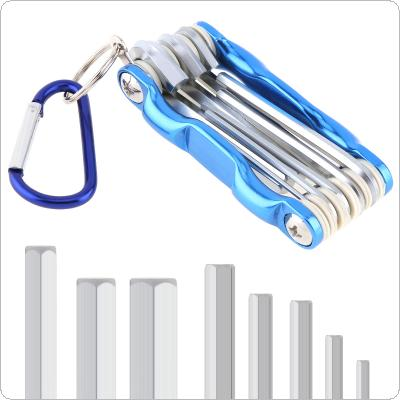 8pcs/set Multifunctional Combination Chrome Vanadium Steel Folding Hex Wrench with Flat Head and Key Ring for Maintenance
