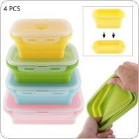 4pcs/set 350 / 500 / 800 / 1200 ML Portable Rectangle Silicone Scalable Folding Lunchbox Bento Box with Silicone Sealing Plug for - 40 ~ 230 Centigrade
