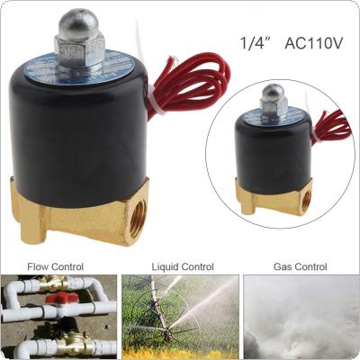 1/4'' AC 110V Normally Closed Type Aluminum Alloy Electric Solenoid Valve with Two Position and 1/4'' Pipe Interface for Water / Oil / Gas