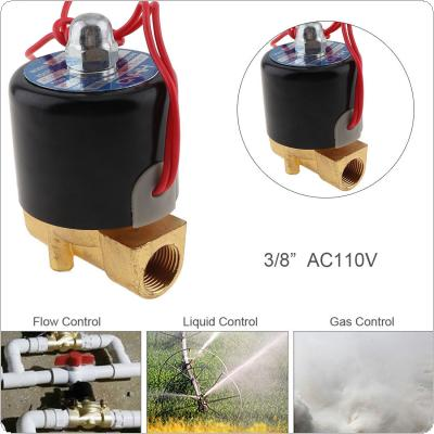 3/8'' AC 110V Normally Closed Type Aluminum Alloy Electric Solenoid Valve with Two Position and 3/8'' Pipe Interface for Water / Oil / Gas