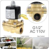 1/2'' AC 110V Brass Electric Solenoid Valve with Two-way Two Position and 1/2'' Pipe Interface for Water / Oil / Gas