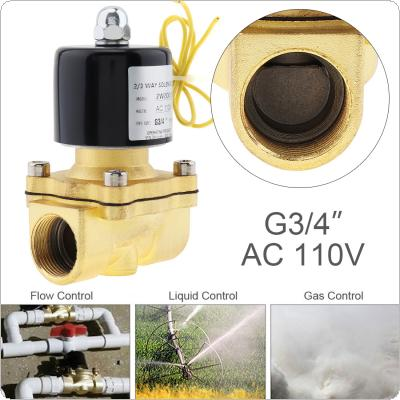 3/4'' AC 110V Normally Closed Type Aluminum Alloy Electric Solenoid Valve with Two Position and 3/4'' Pipe Interface for Water / Oil / Gas
