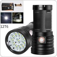 12 x XML-T6 LED 4800 Lumens Super Bright Torch Flash Lamp Flashlight with USB and Micro Charging Port for Lighting / Charging