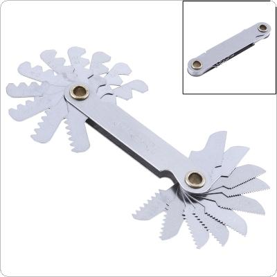 20pcs/set Metric Stainless Steel Thread Gauge 60 Degree Screw Pitch Gauge with 0.5-7.0 Blades Range for Industrial Measurement