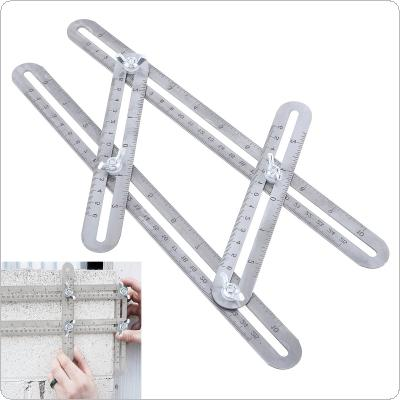 25cm Multifunction Stainless Steel Folding Angle Measuring Ruler Four-sided Measuring Tool for Marker Measurement