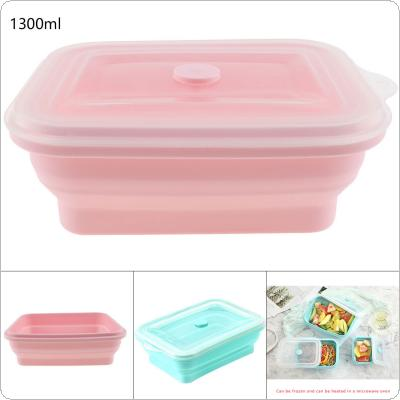 1300ML 2 Colors Portable Rectangle FDA Whole Silicone Scalable Folding Lunchbox Bento Box with Circular Hole and Antiskid Particles for - 40 ~ 230 Degrees