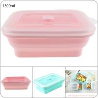 1300ML 2 Colors Portable Rectangle FDA Whole Silicone Scalable Folding Lunchbox Bento Box with Circular Hole and Antiskid Particles for - 40 ~ 230 Centigrade