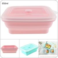 850ML 2 Colors Portable Rectangle FDA Whole Silicone Scalable Folding Lunchbox Bento Box with Circular Hole and Antiskid Particles for - 40 ~ 230 Centigrade