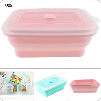350ML 2 Colors Portable Rectangle  FDA Whole Silicone Scalable Folding Lunchbox Bento Box with Circular Hole and Antiskid Particles for - 40 ~ 230 Degrees