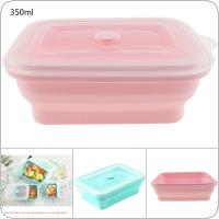 350ML 2 Colors Portable Rectangle FDA Whole Silicone Scalable Folding Lunchbox Bento Box with Circular Hole and Antiskid Particles for - 40 ~ 230 Centigrade