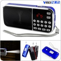 L-088 Mini Radio Multi-function Card Speaker Support TF Cassette with Flashlight Function for Family