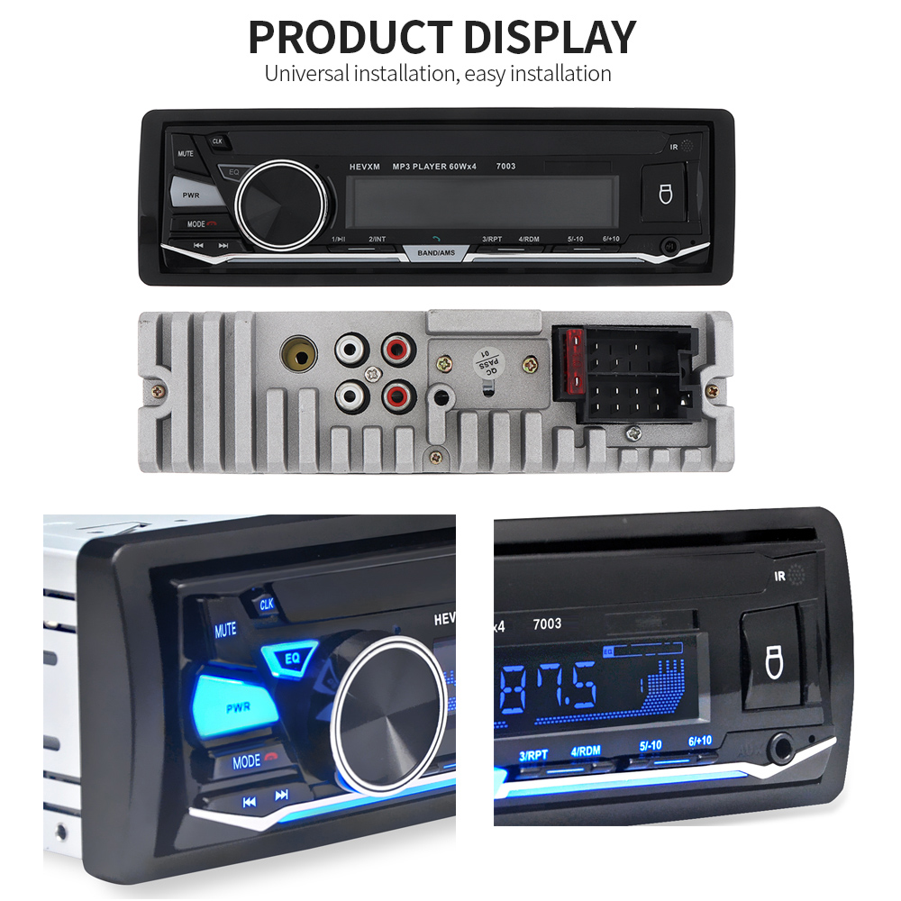 12V 1 DIN In-Dash Bluetooth 7 Color Light Car Stereo FM Radio MP3 Audio Player Support Hands-free Calls Aux Input / SD / USB / MP3