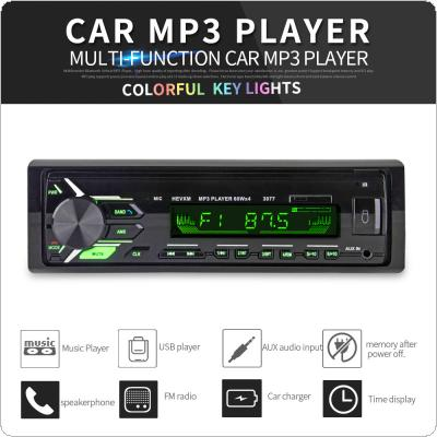 12V 1 DIN In-Dash Bluetooth 7 Color Light Car Stereo FM Radio MP3 Audio Player Detachable Frame Support Hands-free Calls Aux Input / SD / USB / MP3 / MMC