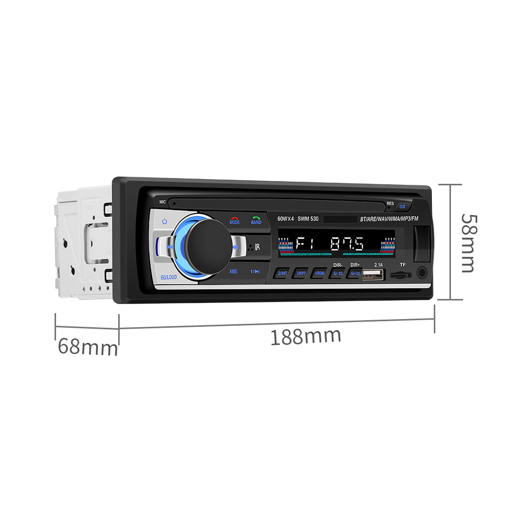 12V 1 DIN In-Dash Bluetooth Car Stereo FM Radio MP3 Audio Player Support Hands-free Calls Aux Input / SD / TF / Dual USB / MP3 / MMC