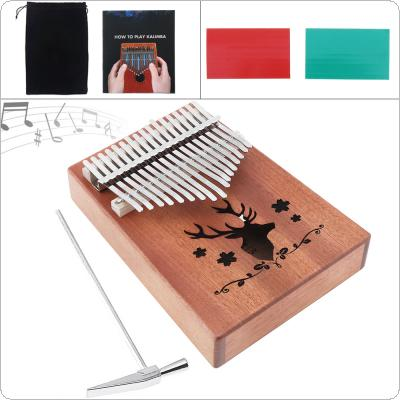 17 Key Kalimba Elk Sound Hole Single Board Mahogany Thumb Piano Mbira Mini Keyboard Instrument Christmas Gift with Complete Accessories