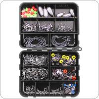160pcs Fishing Accessories Kit Including Crank Hook Snaps Rolling Swivel Fishing Connector Luminous Fishing Beads Sinker Weights with Fishing Tackle Box