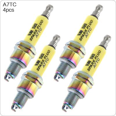 4pcs A7TC Motorcycle Iridium Nozzles Spark Plugs ATRTC CR6HSA CR7HSA CR7HGP for GY6125 Pedal Motorcycle / Horizontal Type 110